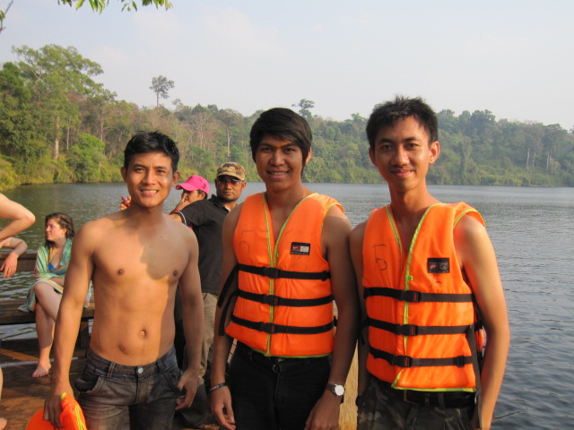 Sokhim (left), me, Vathna at Yak Lom giant lake, a famous lake in Ratanakiri.