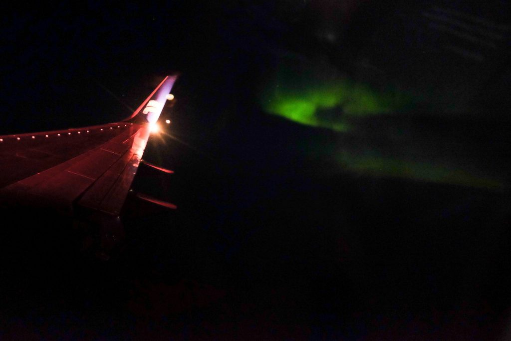 Northern light from the plane